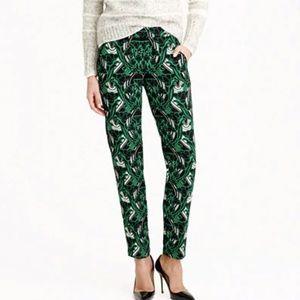 J. CREW Retro Floral Pattern Tuxedo Pants Green